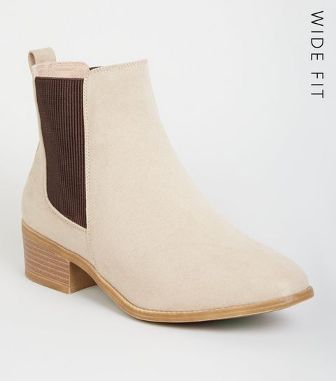 271f4548295 ... Wide Fit Camel Suedette Chelsea Boots ...