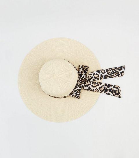 ef4d856458d5b ... Cream Woven Straw Effect Leopard Print Band Floppy Hat ...