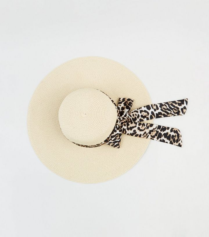 77e491903 Cream Woven Straw Effect Leopard Print Band Floppy Hat Add to Saved Items  Remove from Saved Items