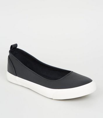 Wide Fit Black Slip On Ballet Trainers by New Look