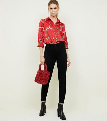Cameo Rose Red Butterfly Chain Print Shirt