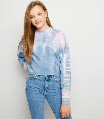 Girls Pale Blue Tie Dye Slogan Sweatshirt