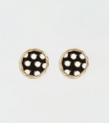 Black Spot Print Resin Disc Earrings