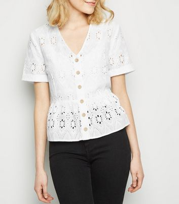 White Cut Out Embroidered Peplum Top