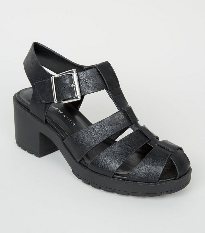 d3aa1455594 Girls Black Leather-Look Chunky Caged Sandals