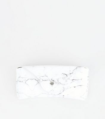 White Marble Effect Hard Sunglasses Case