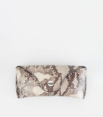 Brown Faux Snake Hard Sunglasses Case