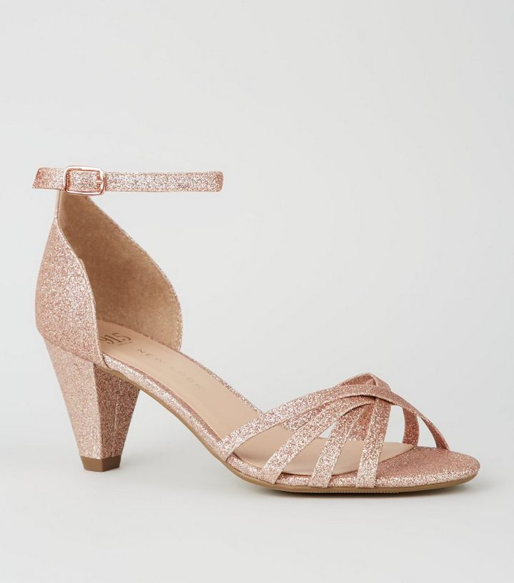 c46167c8e Girls Rose Gold Glitter Cone Heel Sandals