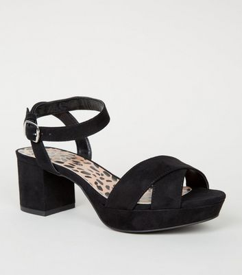 Girls Black Leopard Print Insole Platform Sandals