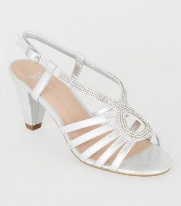 Girls Silver Diamanté Strappy Heel Sandals