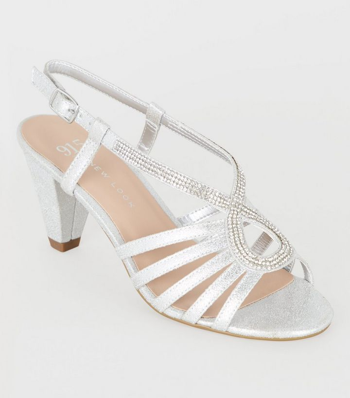 d43af4cefeb6 Girls Silver Diamanté Strappy Heel Sandals