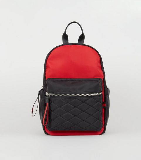 408df59abe2c ... Red and Black Colour Block Mini Backpack ...