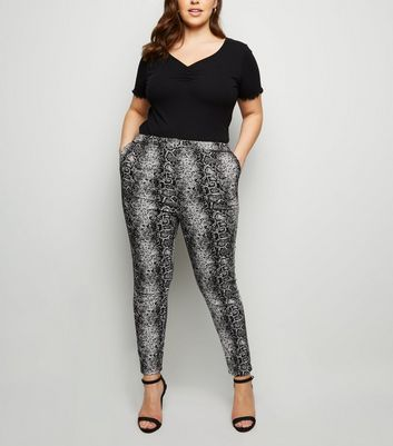 Curves Black Snake Print Slim Leg Trousers