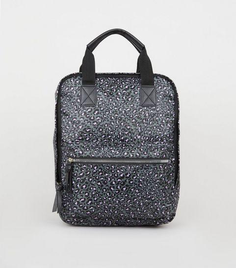 926c9fe40e ... Grey Leopard Print Square Backpack ...