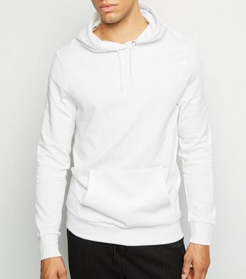 White Pocket Front Long Sleeve Hoodie