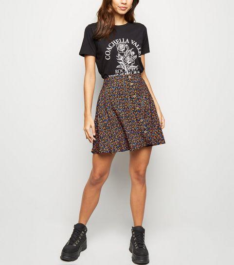a07f3b2dd92 ... Black Ditsy Floral Button Up Mini Skirt ...