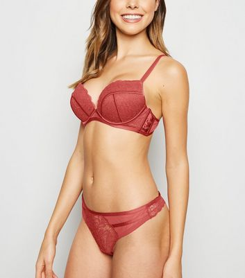 Coral Lace Satin Push-Up Bra