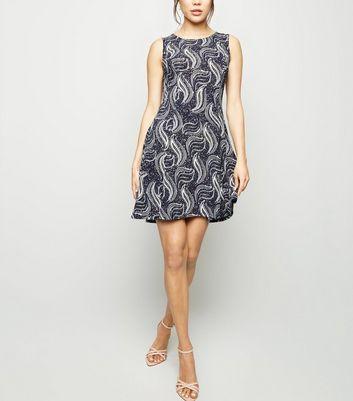 shop for Blue Vanilla Navy Paisley Skater Dress New Look at Shopo