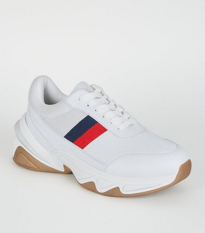 c51cc4d227fdef White Side Stripe Lace Up Chunky Trainers