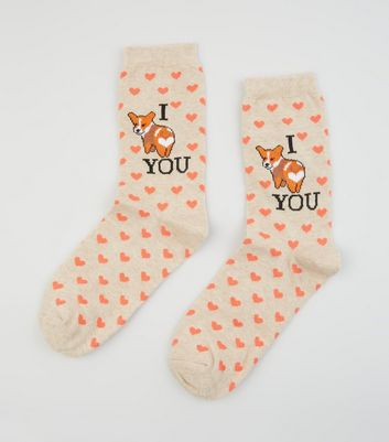 Cream Corgi I Love You Slogan Socks