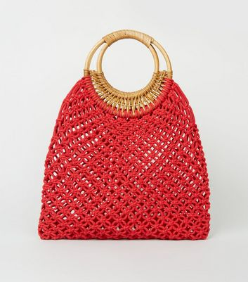 Red Macramé Ring Handle Tote Bag