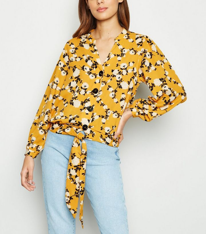 e022be49bcf43f Blue Vanilla Yellow Floral Tie Front Blouse | New Look