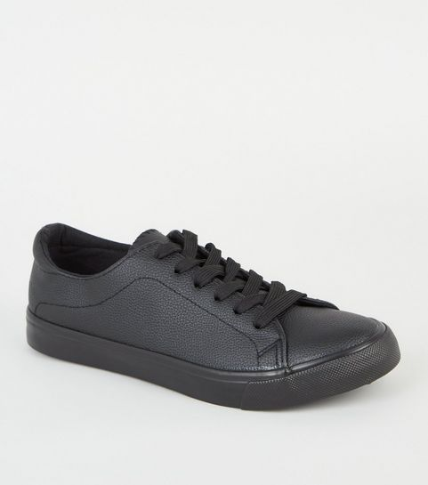 ee92dec8f54b ... Black Leather-Look Lace Up Trainers ...