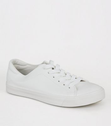 White Leather-Look Lace Up Trainers