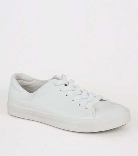 b2b4548e6 ... White Leather-Look Lace Up Trainers ...