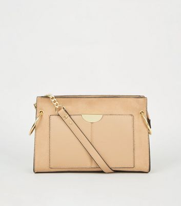 Camel Leather-Look and Suedette Cross Body Bag