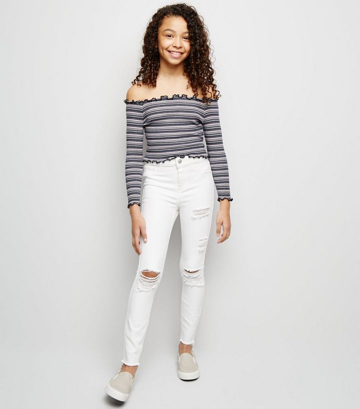fccd6f27294 Girls White Ripped High Waist Skinny Jeans | New Look