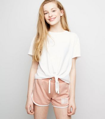 "Girls – Jerseyshorts mit ""Brooklyn""-Slogan in Zartrosa"