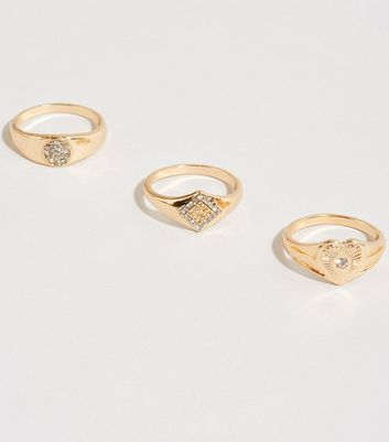 3 Pack Gold Diamanté Signet Rings