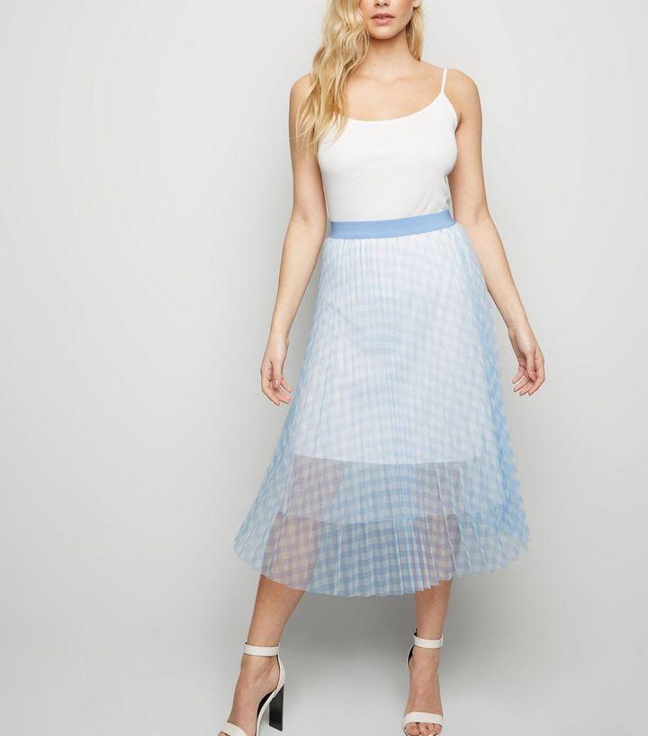 815ea08875 Blue Vanilla Pale Blue Check Mesh Skirt   New Look