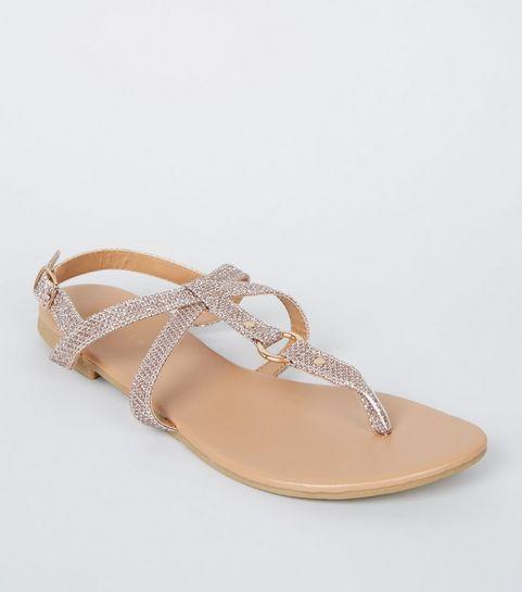 5e9bdb46c814 ... Girls Rose Gold Glitter Ring Cross Strap Sandals ...