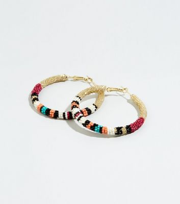 Multicoloured Stripe Beaded Hoop Earrings