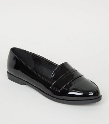 Girls Black Patent Slip On Loafers