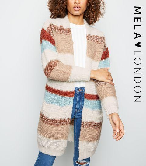 88fa40430381f ... Mela White Stripe Longline Cardigan ...