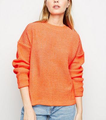 Petite Orange Neon Slouchy Jumper