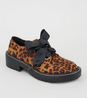 Brown Leopard Print Ribbon Lace Up Shoes