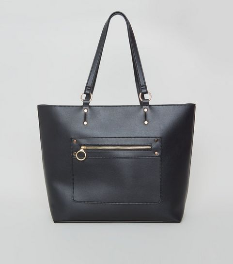 604892a245 ... Black Leather-Look Tote Bag ...