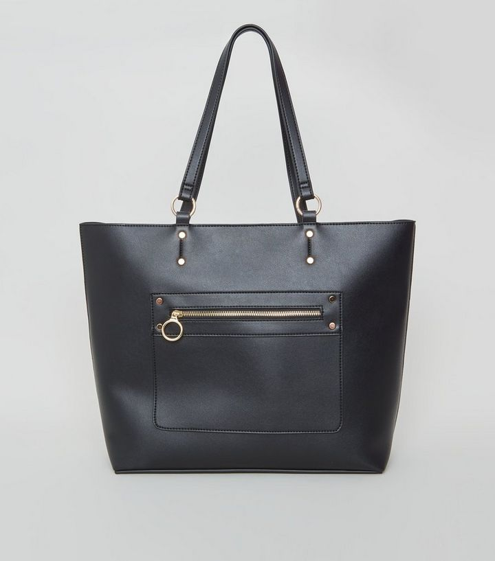 Black Leather Look Tote Bag New