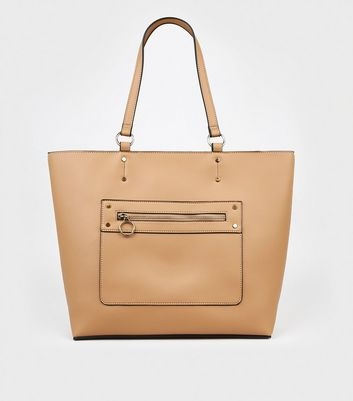 Camel Leather-Look Tote Bag