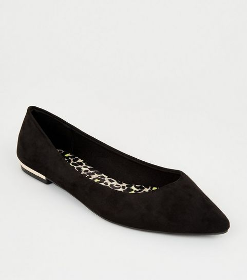 06d70dfea3814 ... Black Suedette Leopard Print Insole Ballet Pumps ...