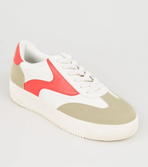 a3f96ce7445 ... White Neon Panel Lace Up Flatform Trainers ...