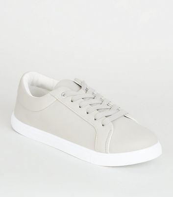 Grey Matte Lace Up Trainers
