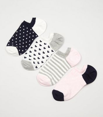 4 Pack Navy Low-Rise Trainers Socks