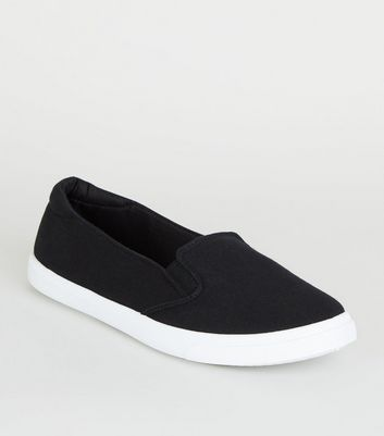 Black Canvas Contrast Sole Slip On