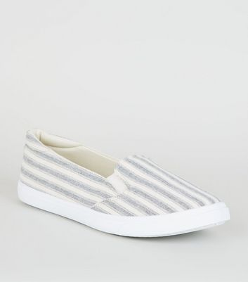 Blue Stripe Canvas Slip On Trainers