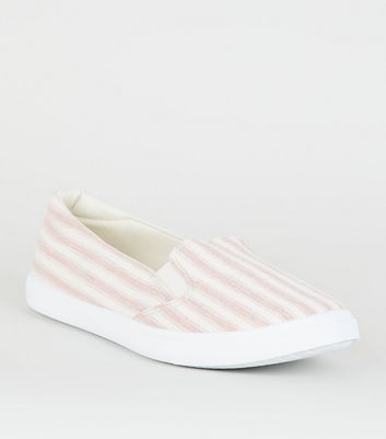 Red Stripe Canvas Slip On Trainers